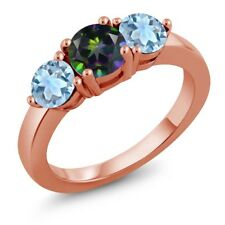 2.40 Ct Round Green Mystic Topaz Sky Blue Topaz 18K Rose Gold Plated Silver Ring