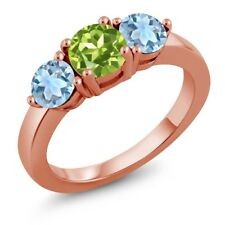 1.80 Ct Round Green Peridot Sky Blue Aquamarine 18K Rose Gold Plated Silver Ring