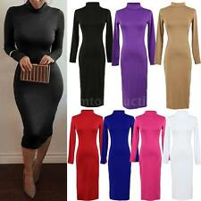 Women Sexy Turtle Neck Long Sleeve Casual Bodycon Stretch Party Midi Dress S M L