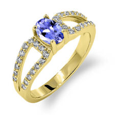 1.23 Ct Oval Blue Tanzanite 18K Yellow Gold Plated Silver Ring