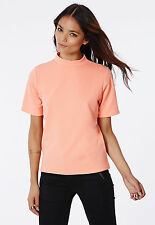 MISSGUIDED MID SLEEVE HIGH NECK SHELL TOP CORAL (M7)