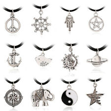 Retro Punk Leather Cord Anchor Tree Elephant Peace Sign Pendant Necklace Chain