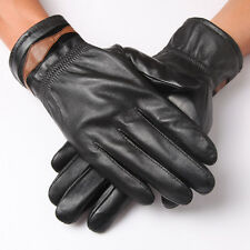 Black Men Genuine Sheep Leather Soft Winter Drive Motorcycle Gloves Simple Style