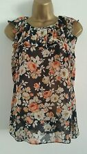NEW Size 8-18 Rose Floral Print Ruffle Neck Chiffon Summer Holiday Top Blouse