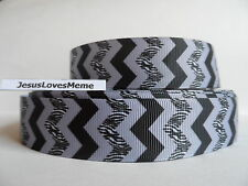 "Grosgrain Ribbon, Chevron, Gray Black Zebra Print, Hair Bow Ribbon, 1"" Wide"