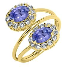 2.28 Ct Oval Blue Tanzanite 18K Yellow Gold Plated Silver Ring