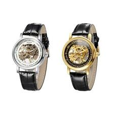 Vintage Mens Watches Skeleton Hollow out Dial Hand-winding Mechanical Watch Q6XL