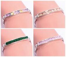 Green Quartz Topaz Morganite Women Jewelry Gems Silver Chain Bracelet NS1374-77