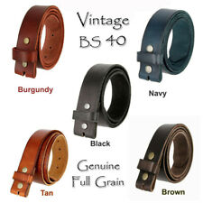 "FULL GRAIN LEATHER BELT STRAPS ONE PIECE 1 1/2"" WIDE FIVE COLORS NEW NWT"
