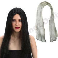 LADIES LONG STRAIGHT WITCH WIG BLACK GREY HALLOWEEN FANCY DRESS FOR COSTUME