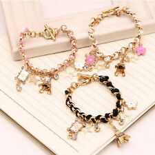 Cute Eiffel Tower Star Flower Leather Crystal Chain Bangle Bracelet Jewelry
