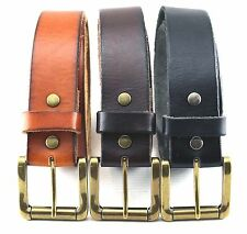 "NEW GENUINE FULL GRAIN LEATHER JEAN BELT w / ROLLER 1 1/2"" WIDE (3) COLORS NWT"