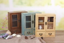 Handmade Rustic Natural Wood Decorative Cabinet with Glass Door