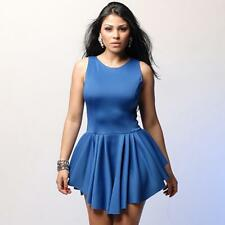 Women Solid O-Neck Sleeveless Pleated Asymmetric Hem Cocktail Peplum Dress DD330