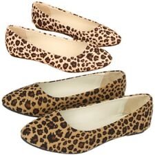 New Fashion Womens Suede Ballet Casual Shoes Lady Comfy Leopard Print Flat Shoes