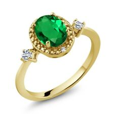 1.17 Ct Green Simulated Emerald White Topaz 18K Yellow Gold Plated Silver Ring