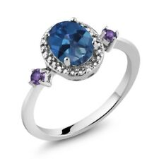 1.43 Ct Oval Sapphire Blue Mystic Topaz Purple Amethyst 925 Sterling Silver Ring