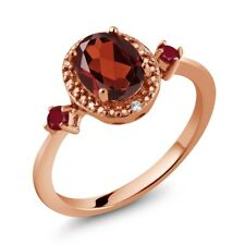1.45 Ct Oval Red Garnet Red Ruby 18K Rose Gold Plated Silver Ring