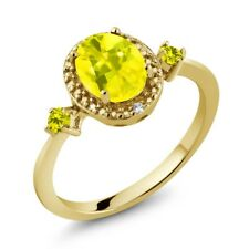1.44 Ct Canary Mystic Topaz Canary Diamond 18K Yellow Gold Plated Silver Ring