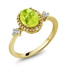 1.27 Ct Oval Yellow Lemon Quartz White Topaz 18K Yellow Gold Plated Silver Ring