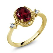 1.52 Ct Oval Red Rhodolite Garnet White Topaz 18K Yellow Gold Plated Silver Ring