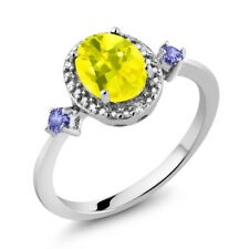 Oval Canary Mystic Topaz Tanzanite 925 Sterling Silver Ring With Accent Diamond