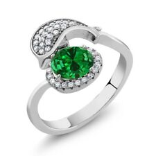 2.50 Ct Oval Green Simulated Emerald 925 Sterling Silver Ladies Dolphin Ring