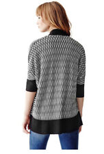 NWT GUESS Patterned Knit Cocoon Shawl Sweater Cardigan Black White XS, S, M