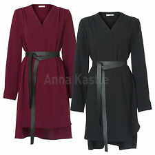 AnnaKastle New Womens Ladies V neck Long Sleeves Shift Dress Black Burgundy