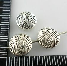 28/300pcs Tibetan Silver Oblate Surface Streaks Spacer Beads 10mm (Lead-free)