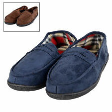 Mens Full Moccasin Styled Slipper With Soft Comfy Check Lining And Non Slip Sole