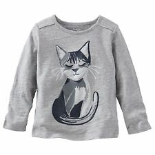 New OshKosh Sparkle Kitty Cat Top NWT 2T 3T 4T 5T 6 6X 10 12 Gray Silver Sequins
