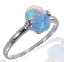 Light Blue Fire Opal Oval Cut Clasp Ring Solid 925 Sterling Silver