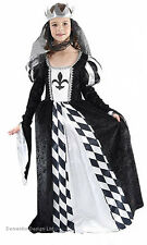 GIRLS MEDIEVAL TUDOR LADY QUEEN FANCY DRESS COSTUME BLACK WHITE 4-6-9-11-13 NEW