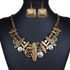 Hot Antique Charming Hollow Charms Collar Necklace Earrings Tibetan Jewelry Set