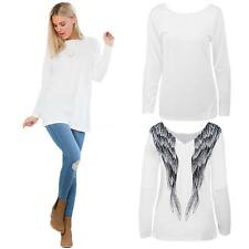 Womens White Angel Wings Print Batwing Sleeve V-Neck Top Tee Casual T-shirt 76DR