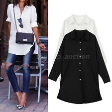 Autumn Womens Loose Button Front Pocket Long Sleeve Shirt Casual Blouse Top 7A7F