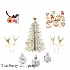 Christmas Party Table Glass Decorations Confetti Place Card Holders Food Picks !
