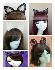 1pcs Cute Cat Lace Ears Headband Hairband for Holloween Cosplay Fancy Dress NEW