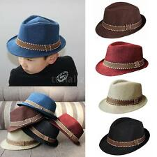 Kids Children Girls Boys Fedora Trilby Unisex Panama Hat Dance Jazz Cap 82GQ