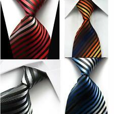 100% Silk Men's Striped Neck Tie Jacquard Woven Formal Meeting Suit Necktie DD25