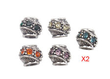 10PCS Mixed Colors Rhinestone Charm Beads Fit European Bracelet #91857