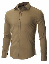 MENS SLIM FIT CASUAL BUTTON DOWN DRESS SHIRTS LONG SLEEVE (FSH600KH)