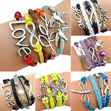 Fashion Jewelry Braided Rope Cute Infinity Charm Bracelet Lots Style
