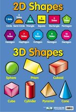 New 2D and 3D Shapes Educational Children's Chart Mini Poster