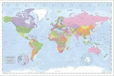 New Political World Map Miller Projection Poster