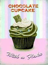 New Chocolate Cupcake With a Flake! Metal Tin Sign