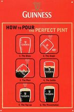 New How to Pour the Perfect Pint Guinness Metal Tin Sign