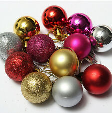 24 XChristmas Tree Decor Glitter Ball Bauble Hanging Xmas Party Ornament Decor