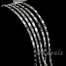 Wholesale 1pc 925 Silver Plated 2mm Charm Curb Flat Chain Necklace 16-24inch Hot